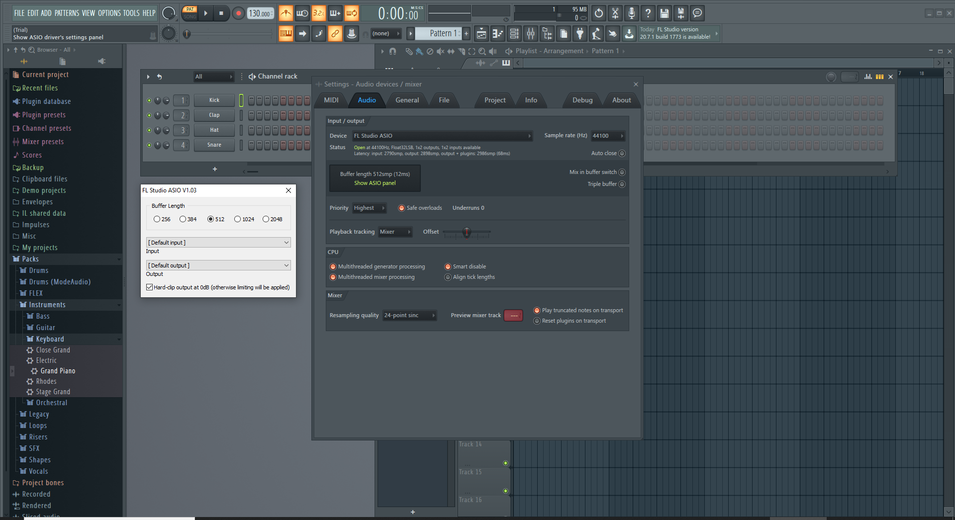 FL Studio - latency settings - buffer size ASIO
